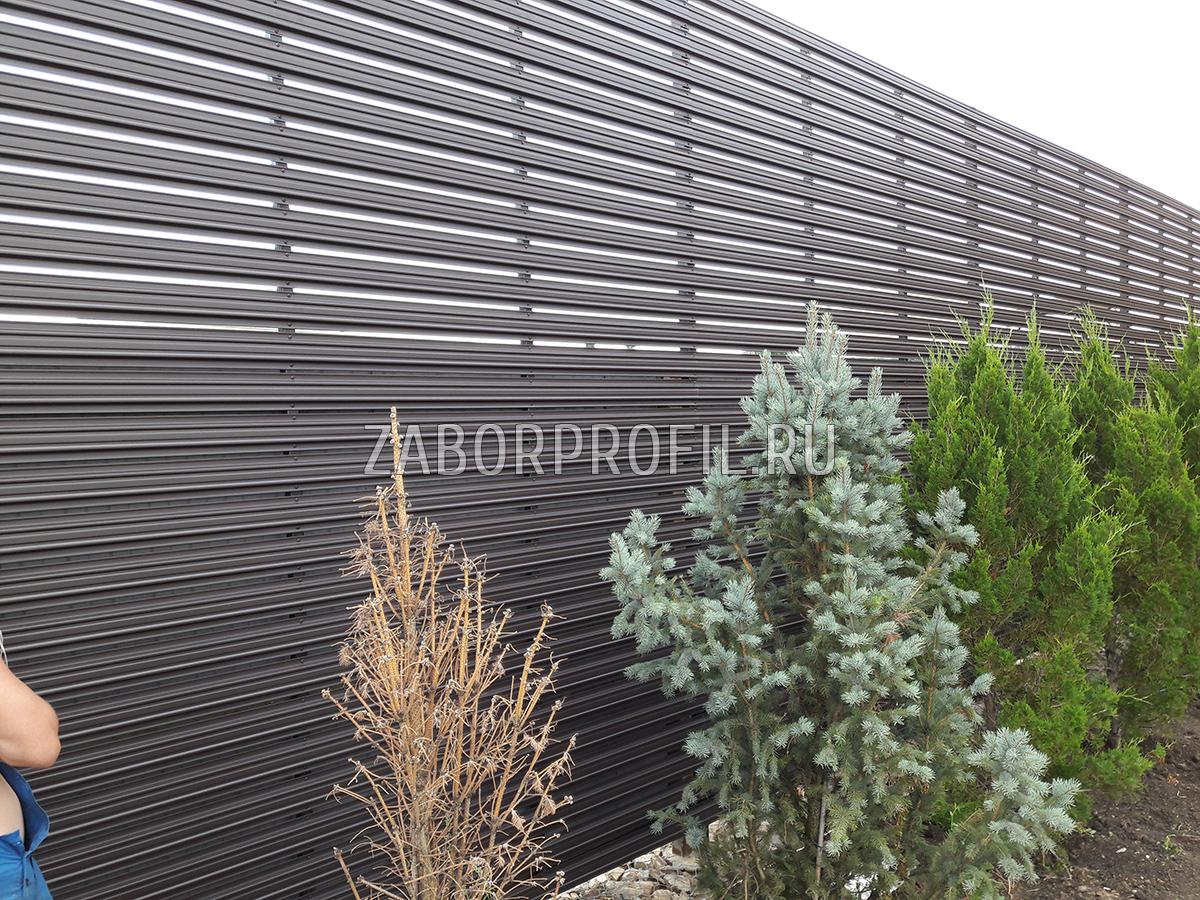 Евроштакетник Премиум горизонтальный забор порошковый матовый RAL 8019